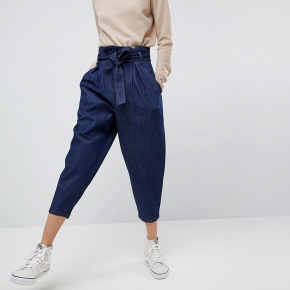 ASOS High waist Paper Bag Indigo Denim Jeans b00a9661a281f
